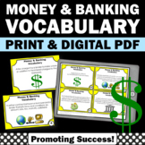 Financial Literacy Vocabulary Task Cards, Money and Banking