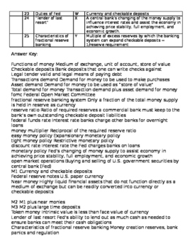 Money, Banking and Monetary Policy Vocabulary Matching Activity