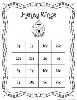 Money Game: Money Bingo (Practice Coin Names and Values)