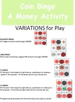 Money Bingo 3 Game Sets K-2