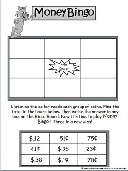 money bingo counting coin combinations by primary inspiration by linda nelson. Black Bedroom Furniture Sets. Home Design Ideas