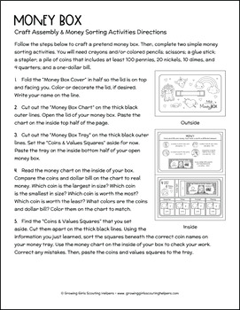 "Money Box - Girl Scout Daisies - ""Money Counts"" Activity Pack (Steps 1 & 2)"