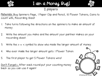 Money Bug- COMPARING COIN COMBINATIONS with Pennies, Nickels, Dimes, & Quarters