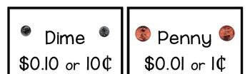 Money Bulletin Board, Penny, Nickel, Dime, Quarter, Poem, Song, & Cards