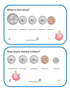 Money Cards Center Activity