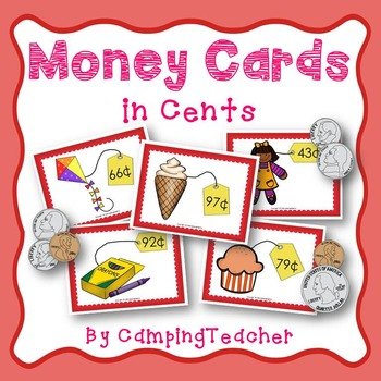 Money Cards In Cents for Math Lessons and Centers