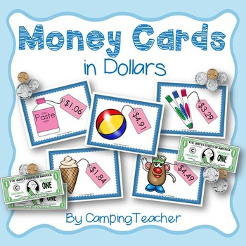 Money Cards In Dollars for Math Lessons and Centers