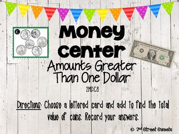Money Center: Amounts Greater than $1 - GO MATH! Chapter 7