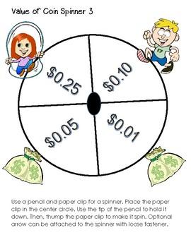 Money Center Spinner Game & Free Money Task Cards
