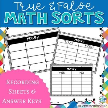 Money Center Task Cards : True False Sort It Math Activity