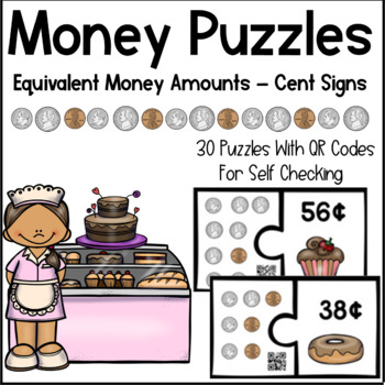 Money Puzzles- Counting Coins and Using Cent Signs