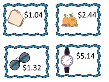 Money Centers and Worksheets without Regrouping--dollars and cents