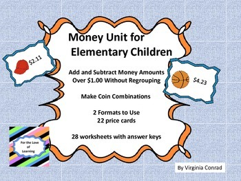 Money Centers and Worksheets without Regrouping--dollars a