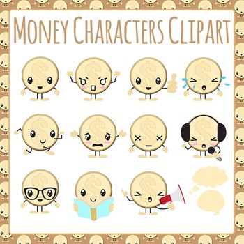 Money Characters or Coin Characters Clip Art Pack for Commercial Use