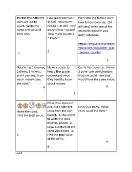 Money Choice Boards 2nd Grade