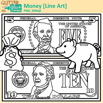 Money Clip Art {Great for Worksheets and Handouts for Math Resources} B&W