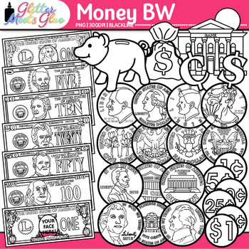 Money Clip Art | Great for Worksheets and Handouts for Math Resources | B&W