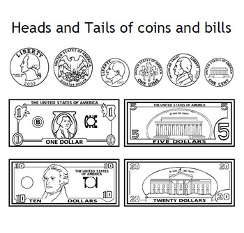 Money Clip Art - Heads, Tails, and Stacked Bills and Coins
