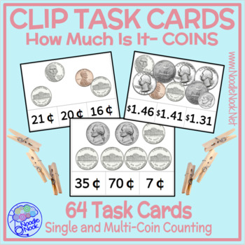 Money Clip Cards- COINS. Task Cards for Money Math Centers