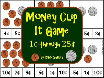 Money Clip It Game 1 Cent to 25 Cents for Coin Recognition and Value