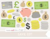 Money Clipart; Coin, Dollar, Cash, Piggy Bank, Bag