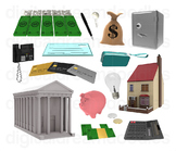 Money Clipart - Finance Bank Digital PNG Graphics