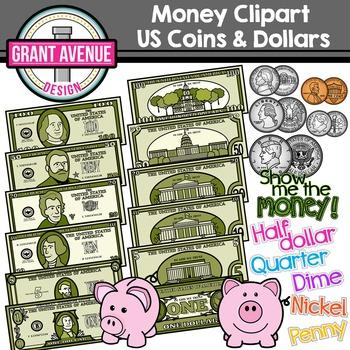 Money Clipart - US Coins & Dollars