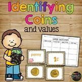 Identifying Coins Money Activity Center Worksheet, Kindergarten & First Grade
