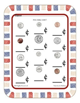 Money - Coin Amount Recognition ~ One Work Sheet ~ Many Seasons / Holidays