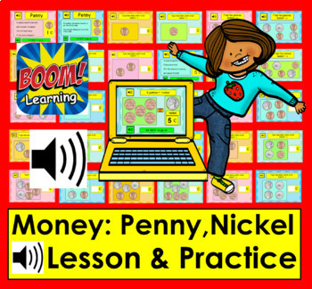 Boom Cards Math Money: Coin Counting: Penny Nickel With Sound!