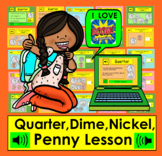 Boom Cards Math Money: Coin Counting Quarter Dime Nickel Penny Distance Learning