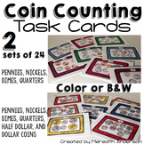 Money Coin Counting Task Cards