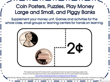 Money Coin Posters, Puzzles, Play Money Large and Small, and Piggy Banks