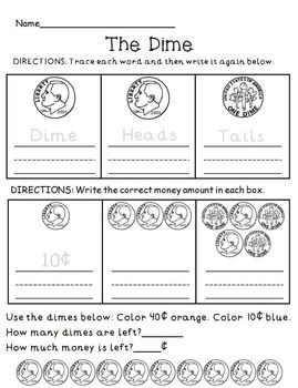 Money Coin Review Practice Worksheet Set
