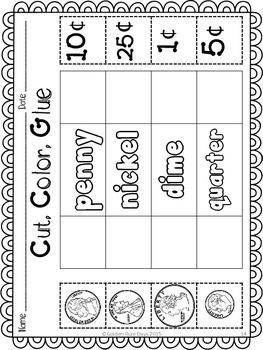 Money & Coins NO PREP Printables For Grades K, 1 & 2!