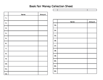 Money Collection Sheet