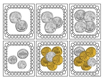 Money Game Concentration up to $1.00 for First and Second Grade, Memory