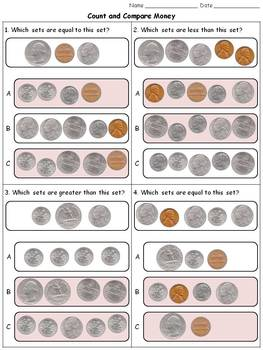 Money: Count and Compare Coins - Quarters Dimes Nickels Pennies Practice Sheets