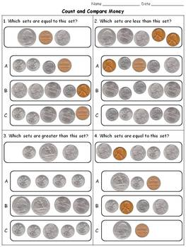 Money: Count and Compare Coins - Quarters Dimes Nickels Pe