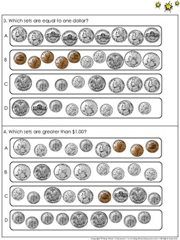 Money: Count and Compare Sets of Coins and $1.00 - Practice Sheets