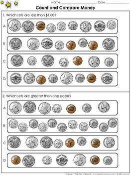 Money: Count and Compare Sets of Coins and $1.00 - Practic