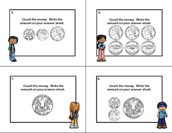 Money-Count and Write the Amount-32 Task Cards-Grade 2-Common Core Aligned