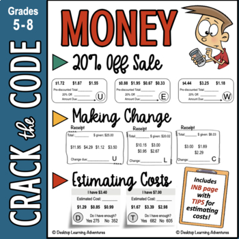 Money | Making Change | 20% Off | Estimate Costs CtC | Distance Learning