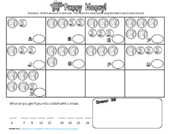 Money Counting Change / Coins Riddle Solver Worksheets for Math Practice