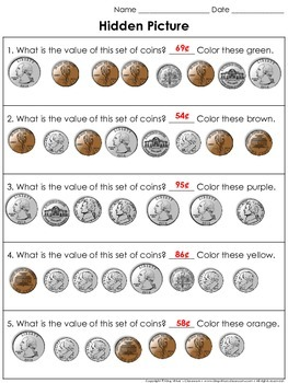 Money: Counting Coins Hidden Picture Activity Halloween Jack-O'-Lantern Pumpkin