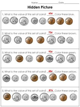 Money: Counting Coins Hidden Picture Activity - St. Patrick's Day Leprechaun