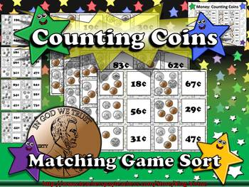 Money: Counting Coins Matching Game Sort - Quarter, Dime, Nickel, and Penny
