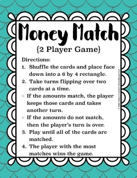 Money Counting Coins Matching Game