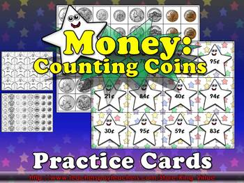 Money: Counting Coins (Up to $1.00) Practice Cards - Quarter Dime Nickel Penny