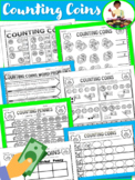 Money Counting Coins (Practice Sheets) Quarters, Nickels,